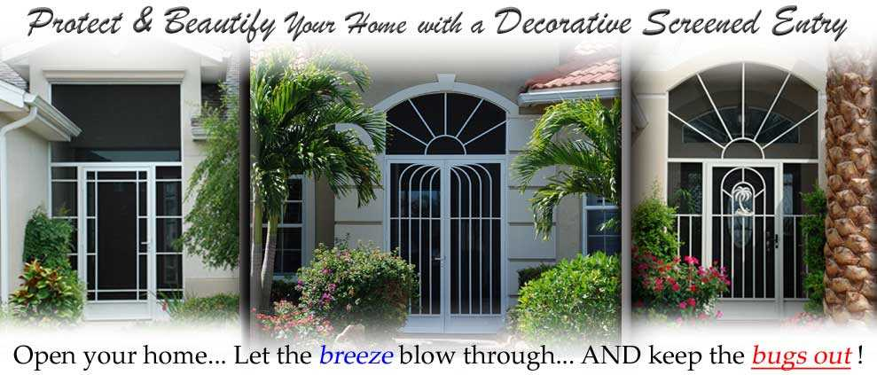 Front entry doors stuart fl screen doors decorative custom for Screened front entry