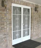 Security screen door with decorative bars